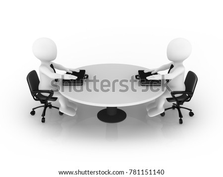 3d business people sitting at round table. Meeting.