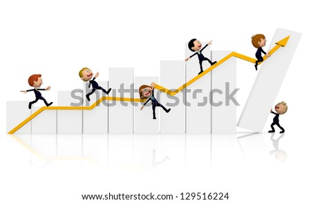 3D Business people with a growth graph - isolated over a white background