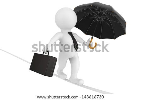 3d business person balanced with a briefcase and a umbrella on a white background - stock photo