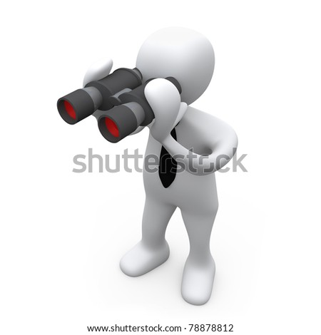 3D Business Person Looking Through Binoculars .