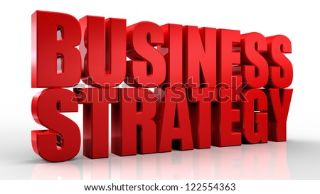 3D Business Strategy text on white background