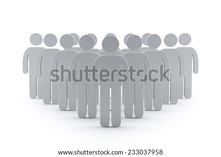 3d business team with leader man. success teamwork concept 3d render illustration  - stock photo