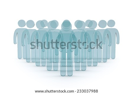 3d business team with leader man. success teamwork concept glass 3d render illustration  - stock photo