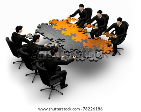 3d business team work building a puzzle  white background - stock photo