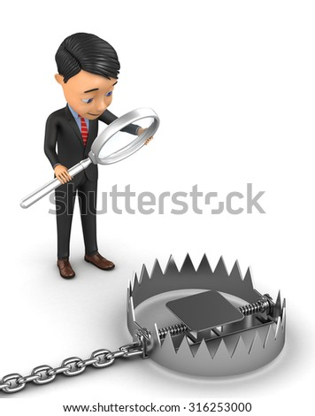 3d businessman analyzes trap - stock photo