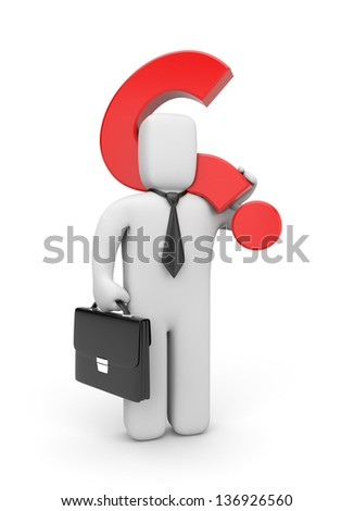 3d businessman and question - stock photo