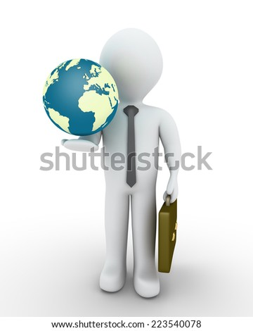 3d businessman and the globe in his hand - stock photo