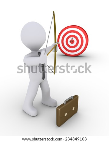 3d businessman as an archer is aiming at a target