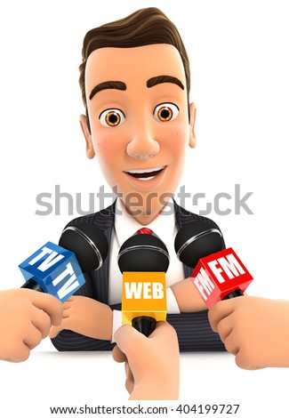 3d businessman being interviewed media, illustration with isolated white background