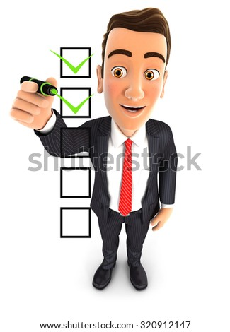 3d businessman checklist, isolated white background