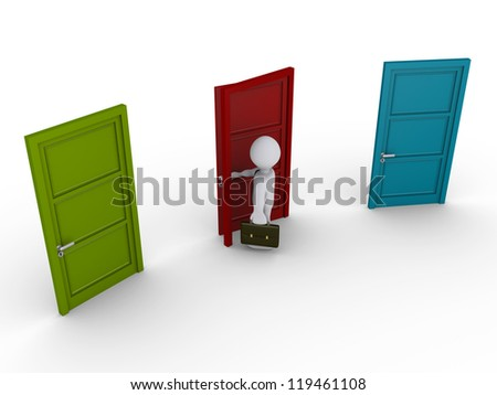 3d businessman chooses to open the middle door out of three - stock photo