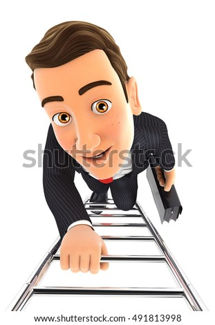 3d businessman climbing up the ladder, illustration with isolated white background