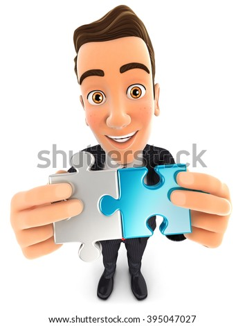 3d businessman connecting two pieces of puzzle, isolated white background