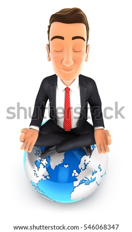 3d businessman doing yoga on top of the earth, illustration with isolated white background
