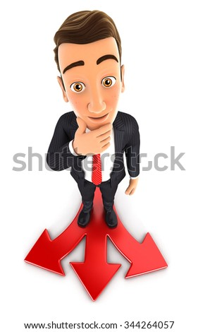 3d businessman faced with a difficult choice, isolated white background
