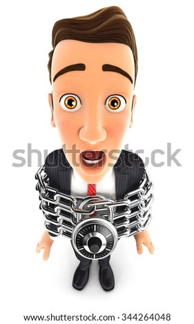 3d businessman fully chained, isolated white background - stock photo