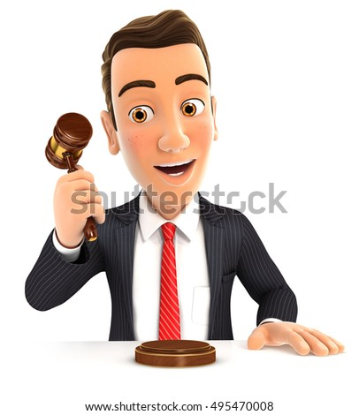 3d businessman hitting gavel, illustration with isolated white background