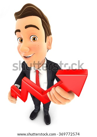 3d businessman holding a growing curve, isolated white background