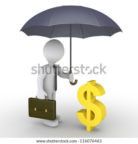 3d businessman holding an umbrella is protecting a dollar symbol