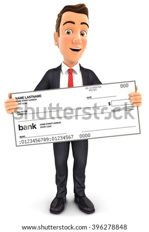 3d businessman holding big bank check, isolated white background