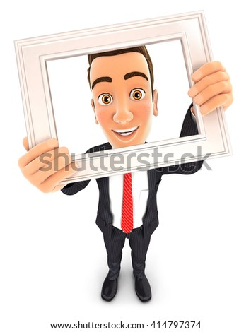 3d businessman holding picture frame, isolated white background