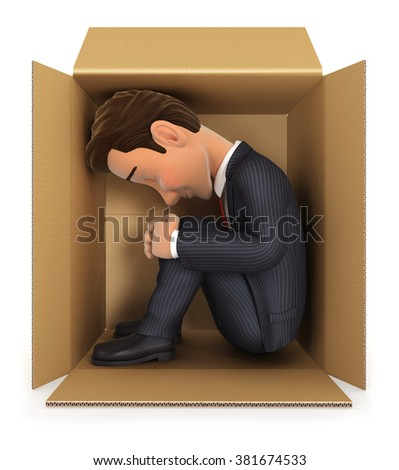 3d businessman inside cardboard box, isolated white background