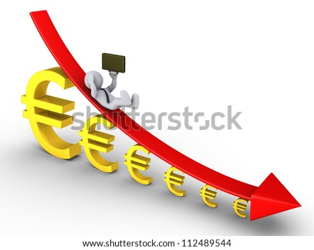 3d businessman is falling from descending graph and euro signs getting smaller