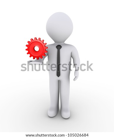 3d businessman is holding on air a red cogwheel