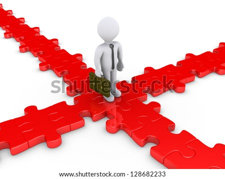 3d businessman is on a puzzle crossroad wondering for the right path