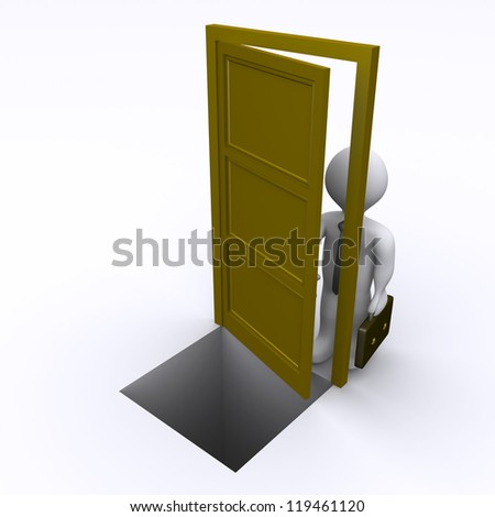 3d businessman is opening a door that has a gap behind it - stock photo