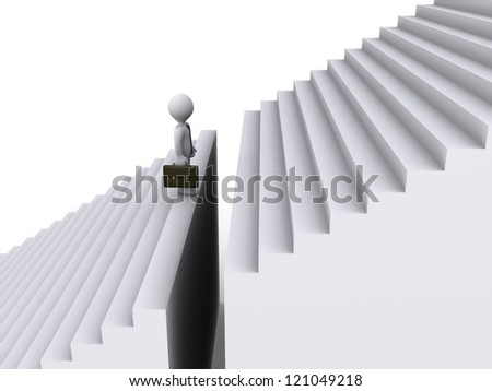 3d businessman is standing in front of gap of stairs - stock photo
