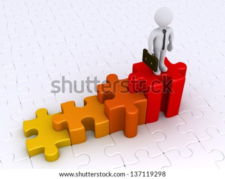 3d businessman is standing on top of stairs made from puzzle pieces - stock photo