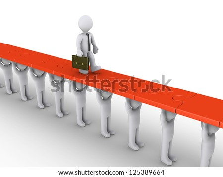 3d businessman is walking on puzzle pieces being held by people - stock photo