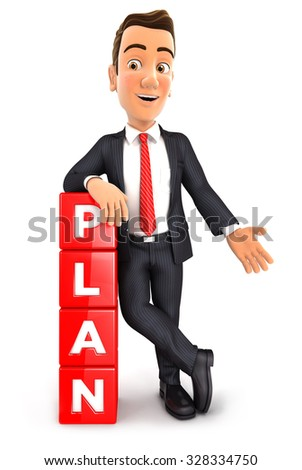 3d businessman leaning against dices with the word plan, isolated white background