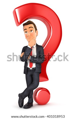 3d businessman leaning back against question mark, illustration with isolated white background