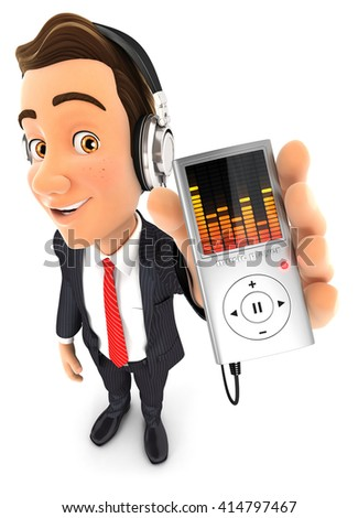 3d businessman listening music on mp3 player, isolated white background