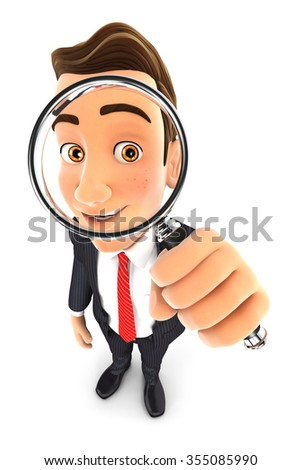 3d businessman looking into a magnifying glass, isolated white background