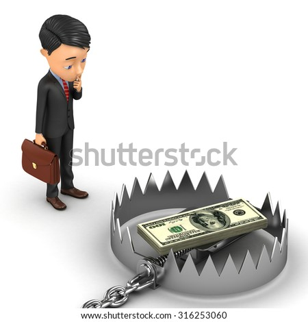3d businessman lost in thought staring at the trap with money - stock photo