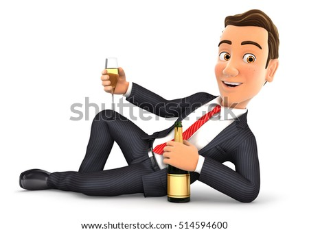3d businessman lying on the floor with champagne, illustration with isolated white background