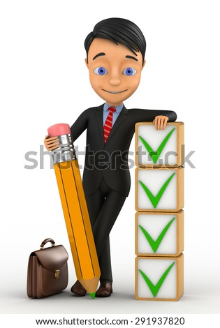 3d businessman on a white background with pencil and ticks - stock photo