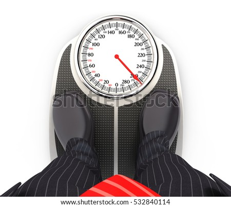 3d businessman on bathroom scales, illustration with isolated white background