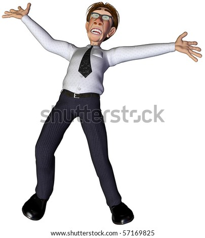 3d businessman open arms - stock photo