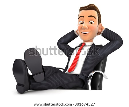 3d businessman relaxing with feet up on his desk, isolated white background