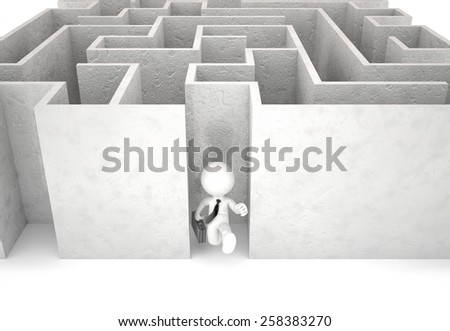 3d businessman running out of maze. Businessconcept. Isolated. Contains clipping path - stock photo