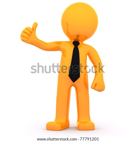 3d Businessman showing thumbs up. Isolated on white background - stock photo