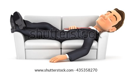 3d businessman sleeping on sofa, illustration with isolated white background