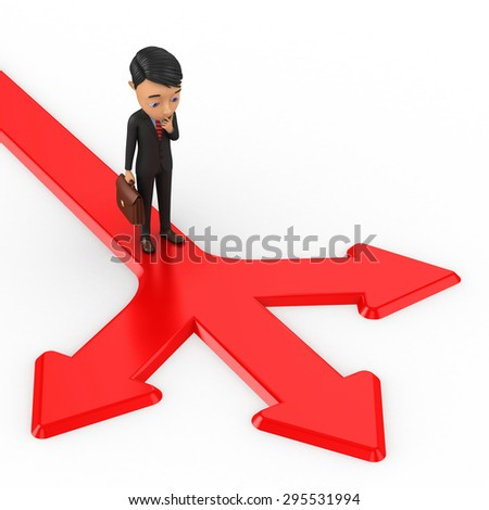 3d businessman standing on arrows that point at different directions