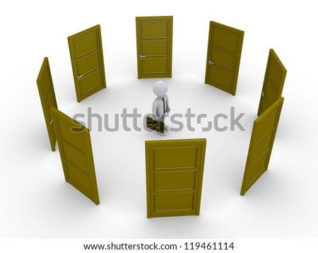 3d businessman surrounded by doors is thinking which one to open - stock photo