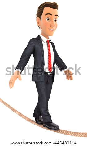 3d businessman walking on a rope, illustration with isolated white background