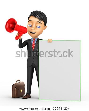 3d businessman with a megaphone - stock photo